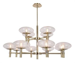 The Grand Collection exudes feelings of grandeur and sophistication whilst staying true to classic contemporary design. A soft light radiates from the center of the stunning ellipse clear glass shades; set on superbly crafted brass finished hardware. The enviable 12 light chandelier is accompanied by a 6 light round chandelier, 6 light oblong chandelier and one light wall sconce