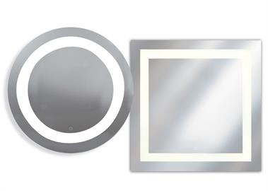 The Spa Collection: A complimentary combination of design and technology can be found in this contemporary mirror collection. Inset LED lighting provides between 2000 lumens (Round) and 2500 lumens (Square) along with a blue illuminated touch on/off switch. Spa, one of life's little pleasures!