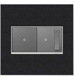 Lend drama to your décor with our Black Leather plate. This plate features real leather with a satin nickel frame for a sophisticated finish. adorne Real Material wall plates are created with natural materials, such as leather and wood. Each plate is hand-crafted and no two are exactly alike.