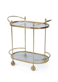 "Bar carts are coming back in a big way, especially in gold and brass finishes. Our Agatha Oval Trolley acts as a beautiful backdrop for a curated collection of your bottles and bar accessories. The cart is made of glass and brass and measures 32"" W x 33"" H and is from the Hip Vintage collection."