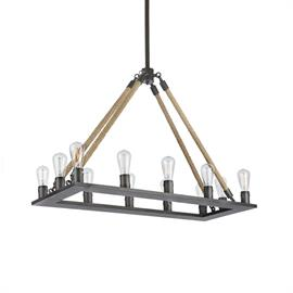 "This great chandelier combines rustic style with industrial appeal. The rope accents add a charming touch while the Edison bulbs are on trend and modern. It is a versatile piece from our Vintage Farmhouse collection, suitable for rustic or transitional spaces. It is made of iron and wood and measures 39.5"" L x 15.75"" W x 26.5"" H with a 32"" non adjustable rod."
