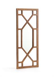 "The Midland Mirror is a beautiful wooden mirror from our Tuscan Villa collection. With a geometric pattern and medium wood tones, this piece is beautiful in traditional homes. Measures 25"" L x 1.5"" W x 61"" H."