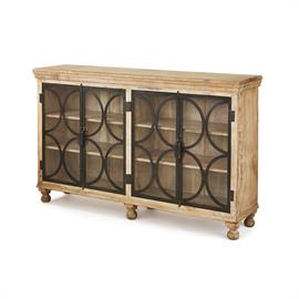 The Stamford Console has a rustic style with a twist. The light, distressed wood makes it a versatile piece for many home decor styles, while the circular metal design over the glass makes it playful and modern. This functional piece will turn heads in any room!