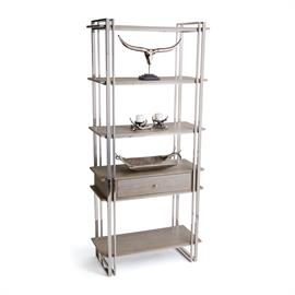 "The Atkinson Shelving Unit is a beautiful modern piece with a polished nickel finish, light wood shelves, and a wood drawer. This clean and sophisticated shelf is perfect for office or living areas. From our Kensington collections, the shelf measures 39.5"" L x 17.75"" W x 88.5"" H."