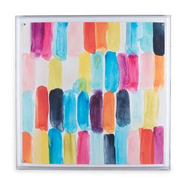 "Colorful giclée prints framed under a lucite shadow box. ""Swish"" is 30"" x 30"" x 2.5""D"