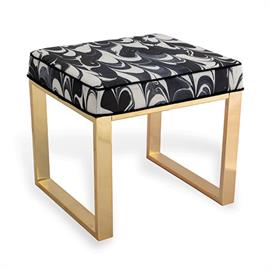 Mid century vibes abound on our Dylan bench in brass finish. Upholstered in Jill Seale's black orchid fabric.  COM is also available.
