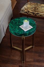 Green malachite and rich aged brass. The Stoneridge table is the perfect spot for your cocktail. Available with a polished nickel, polished gold or aged brass metal base.
