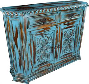 Shown in finish 09/Turquoise, This 52x14x43 chest adds a pop of popular color to any room. Finish and dimensions can be customized.