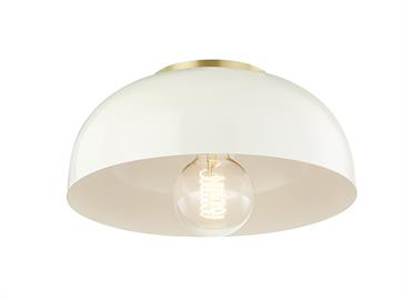 Avery's wide dish, available in a variety of colors, makes it a fun option to pop some color on that ceiling! A glossy cream-white finish along the interior of the dome makes a pleasing contrast to the mint or navy exterior. This flush mount packs a lot of personality into a small space.