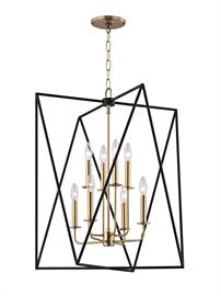 Laszlo makes a stunning first impression. A polished, tightly-scaled candelabra resides at center. Contrasting it in a dizzying geometric frame are two overlapping triangles in textured black metal. Traditional lamping and avant-garde abstraction juxtapose in a fixture whose allure brings [us] into the now. Initial 3D modeling assisted in the creation of the Yin Yang balance between both styles and finishes, which add to the dimension of the piece as well as the optical illusion-like feel, making it fasci