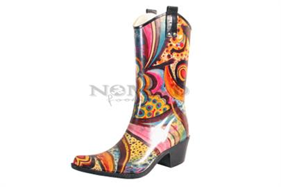 Giddy up in this traditional cowboy style rain boot. Made with water resistant rubber and a non-slip sole. Boot patterns may vary slightly from pair to pair.  Available in whole sizes only. For 1/2 sizes, we suggest ordering next size up. Please this into consideration when ordering case packs.