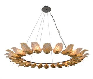 Anello recreates the traditional style Venetian chandelier, morphing it into an awe-inspiring centerpiece. Handcrafted, Venetian glass, painstakingly worked in loving detail by authentic Italian artisans, is spotlighted by essentially removing the typical heavy framework associated with this type of piece. The result is a ring of individual leaves, finished in purposefully alternating straw or clear glass, which allows the light to flow through. These leaves, reminiscent of a Roman style crown, seem to fl