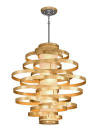 One of Corbett's signature pieces is reintroduced in new finishes. The Vertigo collection is an intertwining collage of circular handcrafted rings fused together to create a contemporary collection with a truly inspired concept. Available in a dizzying array of pendant and wall sconce sizes, the collection is now available in hand-applied gold leaf both inside and out.