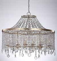 A curtain of multi-faceted crystals beautifully cascade to create the stunning effect of refracted light found in the Palais collection.  Traditional refinement with modern style, this innovative design finished in a warm Silver Leaf offers an extraordinary lighting effect in both contemporary and time-honored spaces.