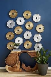 Buttons Wall Sculptures and a one-of-a-kind Origins Burnt Edge Console