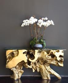 Gold Leaf Freeform Console Table