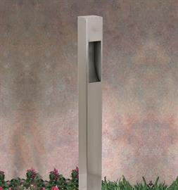Contemporary pathway bollard in PVD Satin finish.  SPJ Lighting's sleek, modern and clean design comes with a 2W LED lumen package, for a soft glow.  We can bump up the lumens as well!