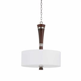 Bordeaux Collection 3 light pendant in a satin nickel and redwood finish with a white linen drum shade.
