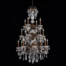Vienna Collection 18 light entry chandelier in a bronze with gold and silver wash finish.
