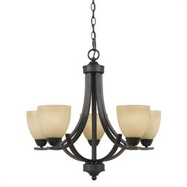 Value Collection 8000 5 light chandelier in a  Bronze finish and tea stained glass.