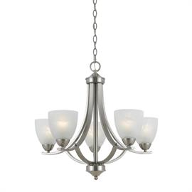 Value Collection 8001 5 light chandelier in satin nickel finish and white alabaster glass.