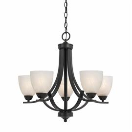"Value Collection 8002 5 light chandelier in a bronze finish  and white alabaster glass.   24""d X 22""h.  5- 100 watt medium based bulbs not included."