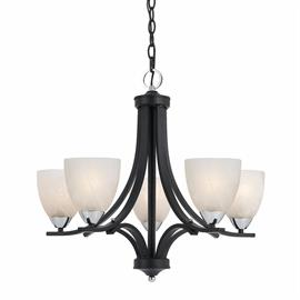 Value Collection 8004 5 light chandelier in a black finish with chrome accents and white alabaster glass shades.