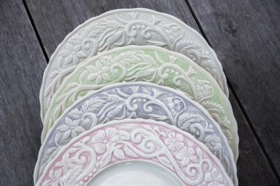 Carmel's beautiful gardens are shared in our Flower Garden dinnerware and serveware collection. Made of porcelain in four colors, cream, lavender, green and pink. Microwave and dishwasher safe.