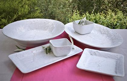 Oliveira ceramics, new from Portugal!  Each piece features our lovely olive branch design with a reactive white glaze finish.  Made from durable stoneware, dishwasher and microwave safe.