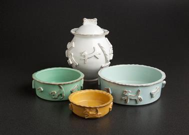 "Shouldn't your dog have his/her own bowls and treat jar?  Our ceramic stoneware ""pet tableware"" has your treats on the outside of each vessel and is available in 4 colors. Blue, Aqua(Green), French White and Caramel."