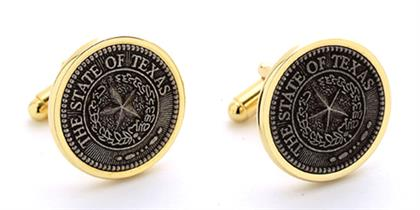 Texas State Seal cuff links designed by George Zoes in 1995 in a gold tone and pewter finish insert.