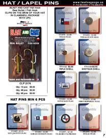 Our Blast & Cast hat pins are Made in USA, packaged in a clamshell and UPC code on back for inventory tracking.  Texas Pins are carded making it easy to display.