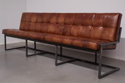 Simone Albani Leather Dining Bench w/Back Cognac