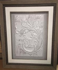 Tin tile distressed with white and silver, embellished with crystals, and  matted in ivory linen with silver fillet in a vintage look frame