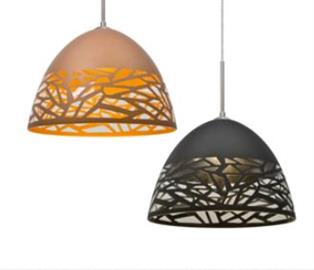 The Kiev Black Pendant features a unique shade that melds the beauty of shimmering glass with the visual advantages of cut metal, which results in a compelling optical display in a smartly modern design.  With random stenciled openings placed throughout the bottom portion of this pendant, the concealed light source focuses the eye through the multi-dimensional sightlines while allowing for a eye-catching sparkle from the exposed clear glass and dramatic play of light through the accents and onto adjacent