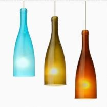 The Botella is a classically shaped vino bottle, inspired by the timeless beverage. The surface is sandblasted to create balance between the color and the light.  http://www.besalighting.com/products/pendants/mini-pendants-12v/botella
