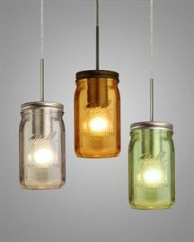 The Milo is a fun pendant inspired by the traditional glass jars used for canning, only enhanced with various sprayed colors. The seductive glow has a low key harmonious display that exudes a warm mood.   http://www.besalighting.com/products/pendants/120v-pendants/milo-4