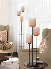 Bess collection features 3 or 4-light table and floor lamp with tiers. According to your taste and style, choose from brushed nickel or dark bronze finish body with frosted glass or light amber glass shades. Bess lamps illuminate and warm your home!