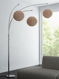 Linterna Arc Floor Lamp from Lite Source features brushed nickel finish body with natural bamboo shade. The three impressive bamboo rattan shades highlights the design with an exotic taste. Perfectly balanced arc and height makes the lamp a pleasant presentation in your room.