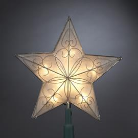 "This Kurt Adler 8.5"" Star Treetop is a beautifully classic way to decorate your Christmas tree. Gold in color, this star is accented by gold trimming in a pattern on each of the 5 points of the star."