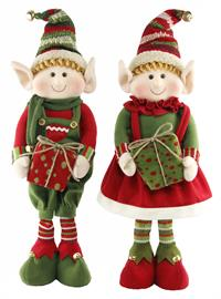 "Adorable felt knit elves that stand 28"" tall.  Let them take a break from Santa's workshop by placing them on your mantel or to add some holiday cheer to your entryway."
