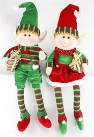 "32"" gorgeous velvet knit elves that are the perfect addition to your Christmas décor.  Set them among your presents under the Christmas tree."