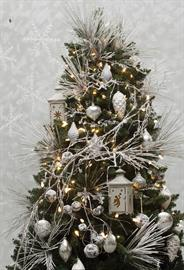 Beautiful Snowy Pine, Twigs, Penguins and Frosted Silver Ornaments . . . ..