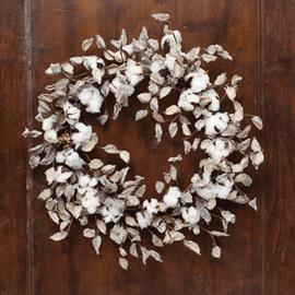 Southern Cotton Wreath, made with real cotton hulls.  Also available in a spray and bough.  Shown with our Chantilly Holiday Collection.