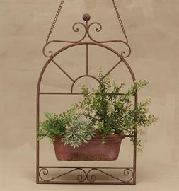 Weathered Metal and Terra Cotta Planter