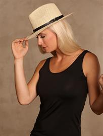 Khaki Tan Hat and Black Tank Top by Trezo