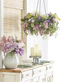 This everyday spring theme is anchored by fresh white home decor with accents of lilac, soft pink and yellow.