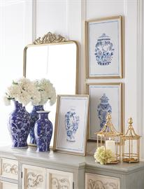 A fresh take on European farmhouse, the soft blue and white color palette creates a graceful and soothing environment.