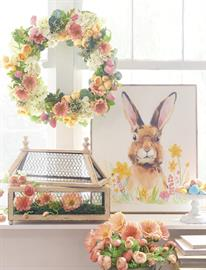 Inspired by the naturally occurring colors found in irises and tulips, this playful theme is home to bold florals, spring rabbits and unique containers.