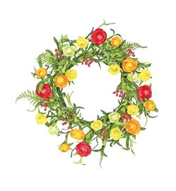 Bright and cheerful are the words that come to mind when looking at this wreath.  This beauty has matching picks, sprays, and garlands.  Also in Beauty/Purple/Green color way.